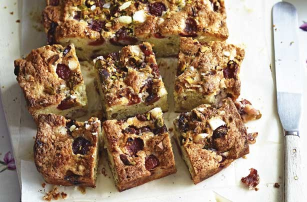 Cherry and pistachio bake