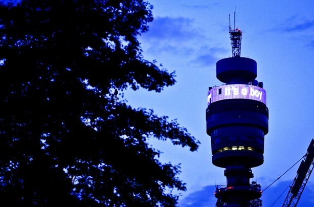 BT Tower in London announcing the birth of the royal baby boy