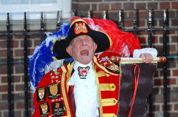 Town crier Tony Appleton announcing birth of royal baby boy