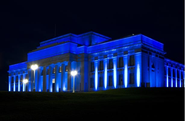 The War Memorial Museum in Auckland New Zealand lit up blue for the birth of the royal baby