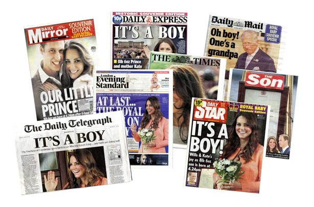 UK newspapers announcing the birth of the royal baby
