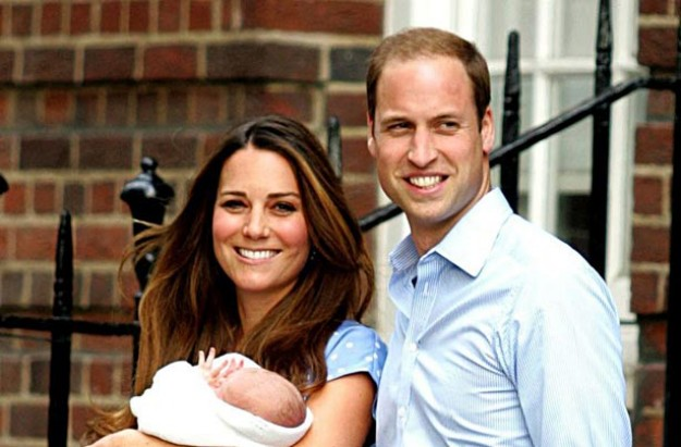 Kate Middleton and Prince William with the newborn Prince of Cambridge