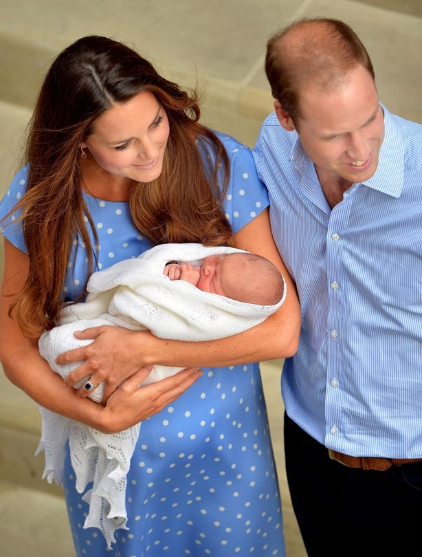 Kate Middleton and Prince William with their newborn baby son