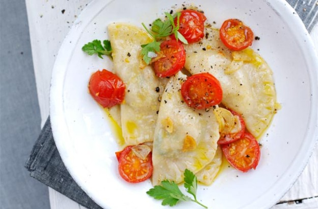 Crab and garlic ravioli