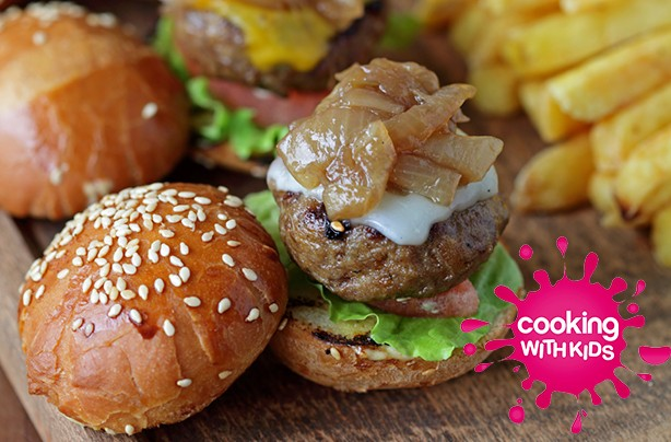 Mini slider burgers to make with kids