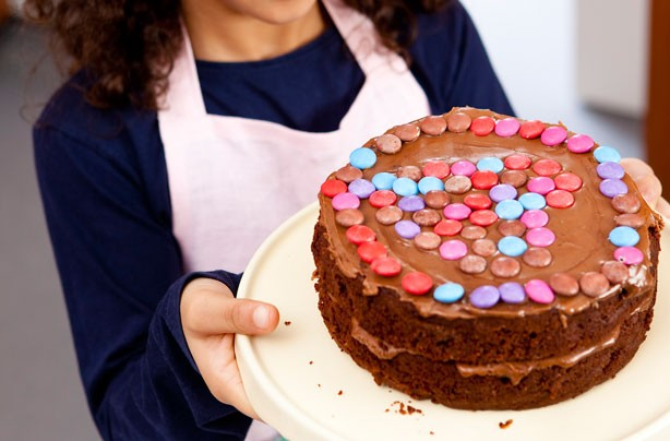 Hearty Smartie chocolate cake