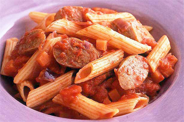 Pasta With Favas, Tomatoes And Sausage Recipe — Dishmaps