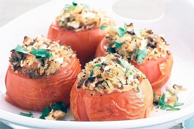 Lamb and feta stuffed tomatoes