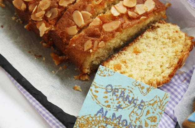 Orange and almond loaf cake with maple syrup