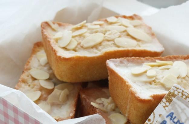 Almond sponges with orange icing