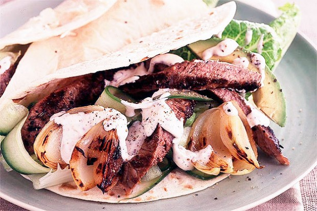 Steak and onion wraps