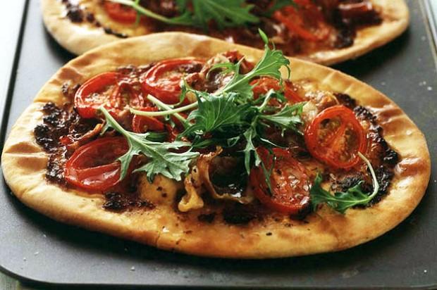 Tomato and Parma ham pizzas