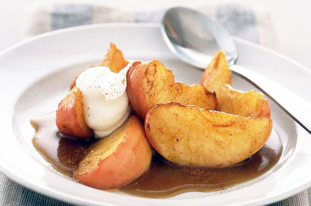 Spiced apple wedges with butterscotch sauce