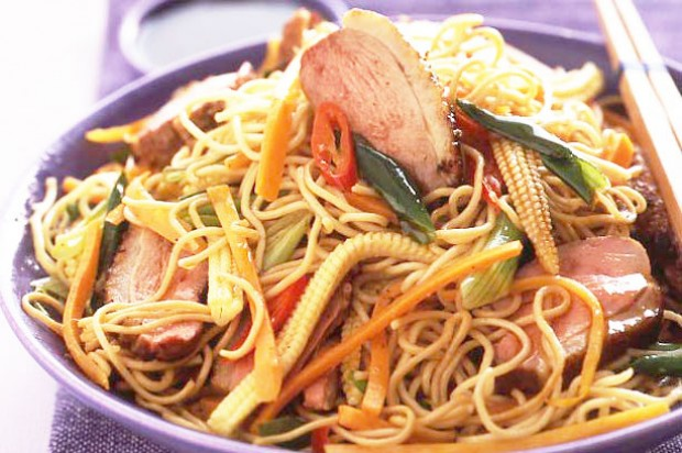 Warm crispy duck and noodle salad