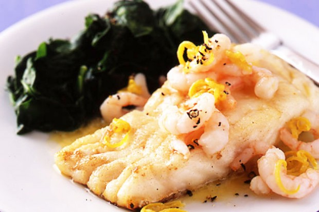 Pan-fried cod with prawn and lemon butter