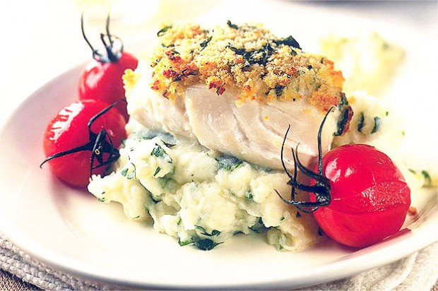 Roast cod on lemon and parsley mash