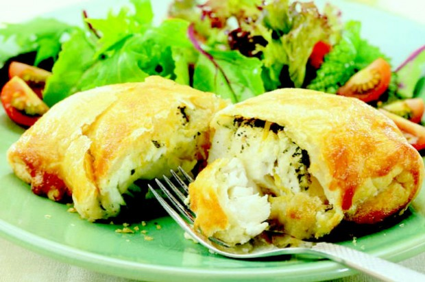Cheesy cod parcels