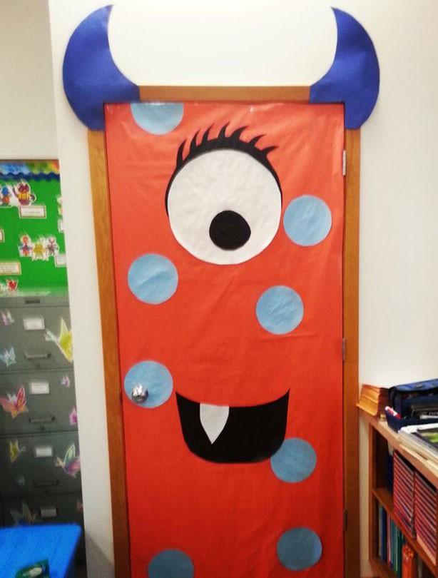 Cute Halloween Classroom Decorations ~ Halloween party ideas monster doors junior door