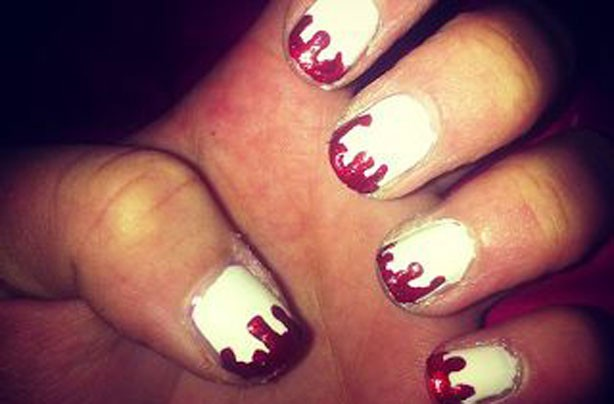 Blood tipped Halloween nails