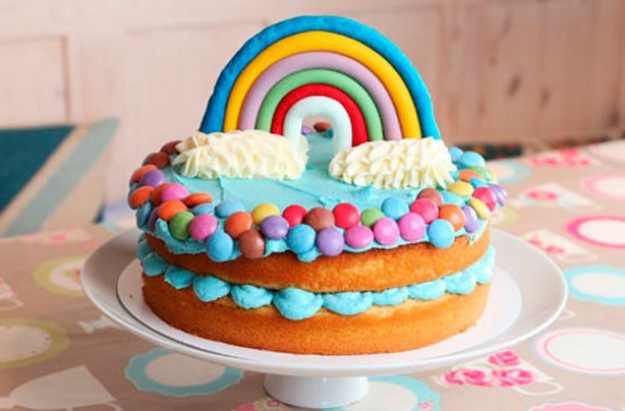 Jo Wheatley's rainbow vanilla sponge