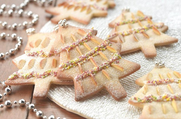 almond Christmas tree biscuits