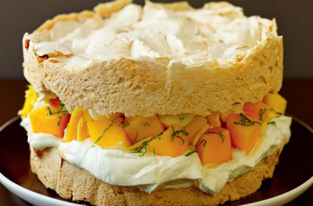 Lorraine Pascale's Victoria meringue sponge with mango and lime, and a vanilla cream filling
