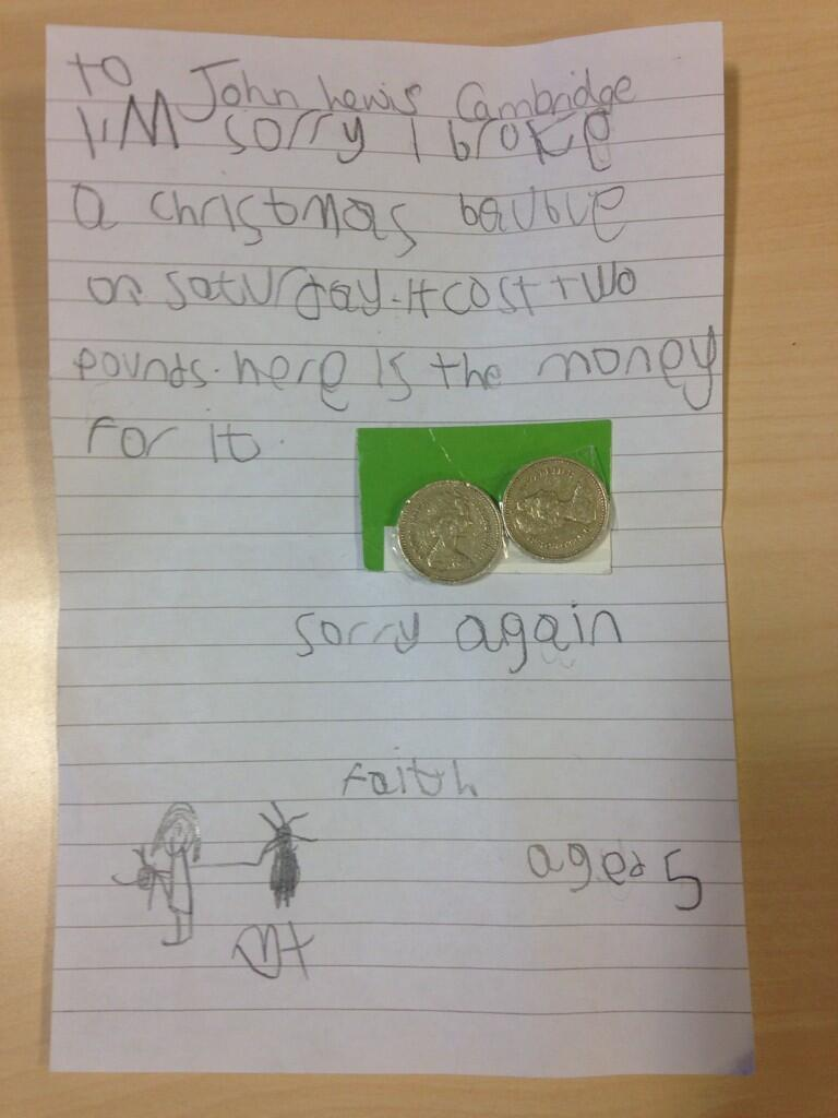 John Lewis receives apology letter from fiveyearold Faith who