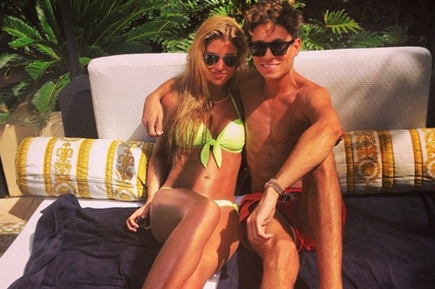 Joey Essex and Amy Willerton by the pool