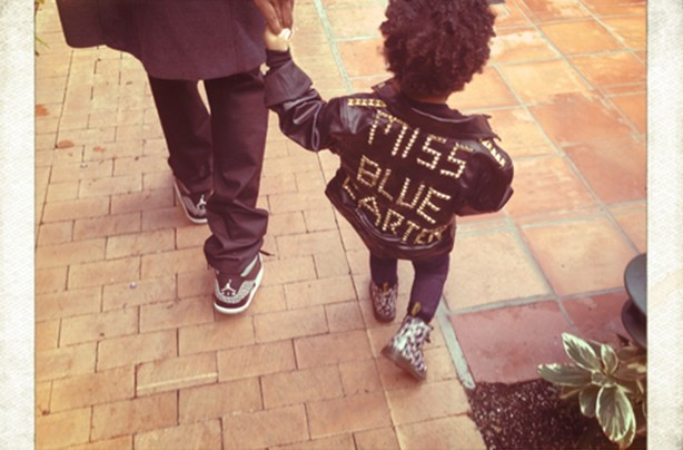 Blue Ivy wearing Miss Blue leather jackt