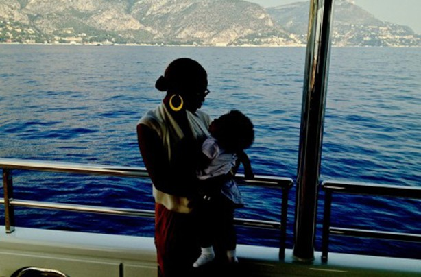 Beyonce and Blue Ivy on a boat