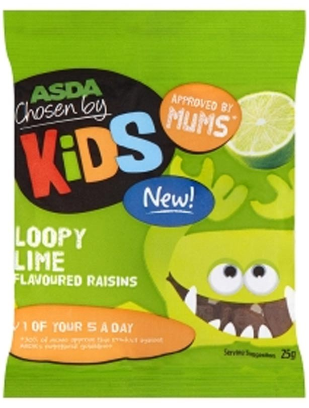 Asda Loopy Lime flavoured raisins