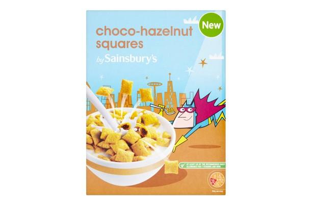 Sainsbury's choco-hazelnut squares kids' cereal