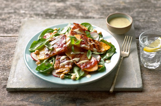 Sweet potato and griddled prosciutto salad