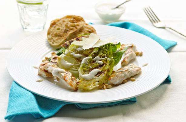 Warm chicken Caesar salad