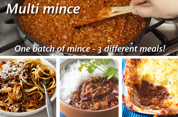 Multi mince: One batch of mince - 3 different dinners ...
