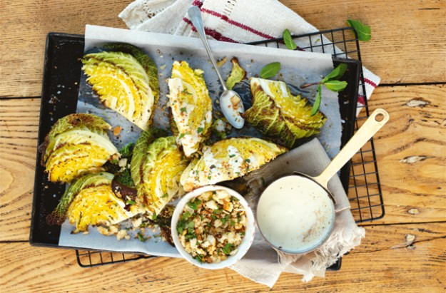 Cheesy roast savoy cabbage wedges with crunchy herbs