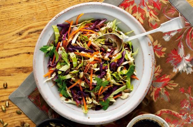 warm rainbow cabbage salad
