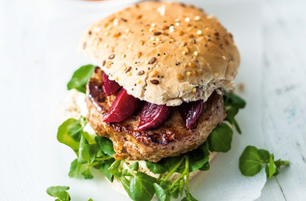 Pork burger with sweet potato