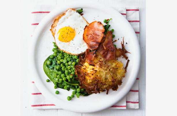 Potato rosti with bacon, egg and spinach recipe - goodtoknow