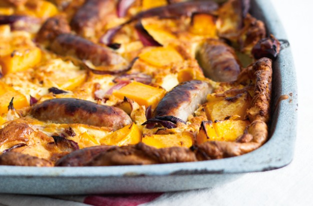 Sausage, squash and onion toad-in-the-hole