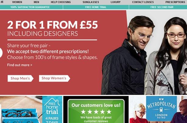 Top 10 bargain websites: GlassesDirect website