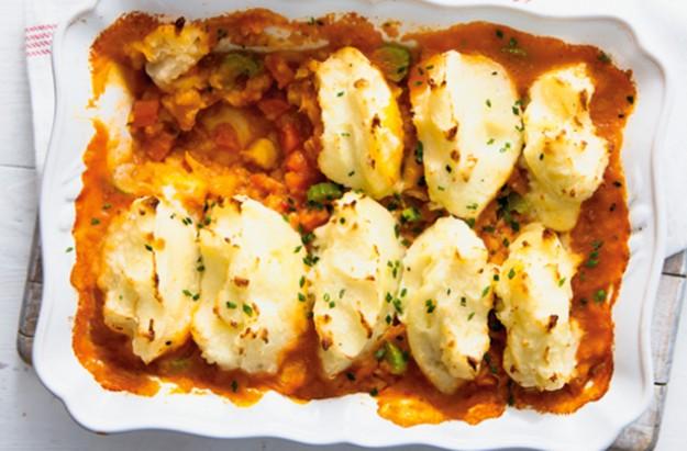 Vegetable and lentil pie