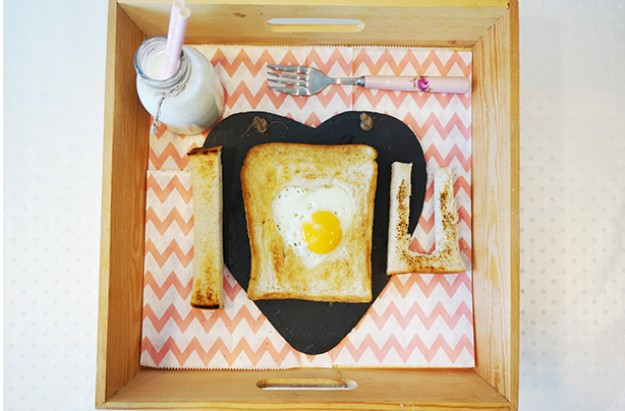 Egg in a heart frame