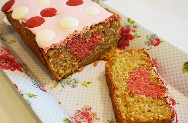 Hidden heart loaf cake