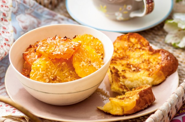Brioche eggy bread with grilled citrus fruits