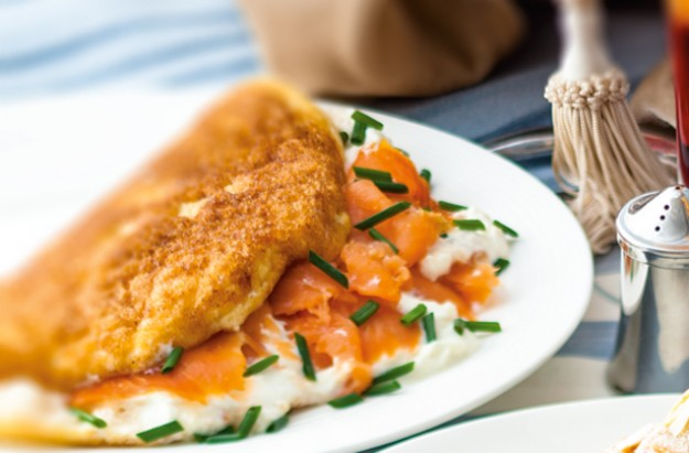 Smoked salmon and cream cheese omelette recipe - goodtoknow