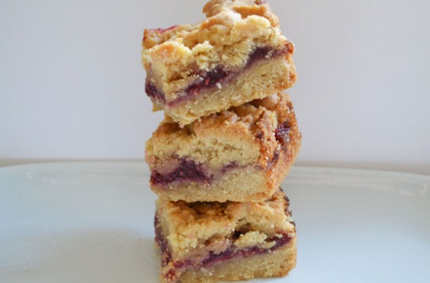Peanut butter and jam slices