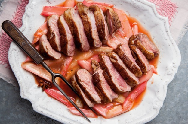 Duck with rhubarb