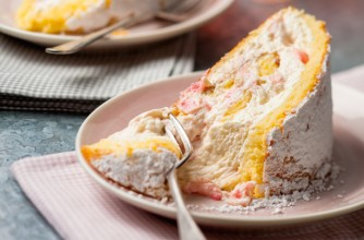 Rhubarb and orange roulade