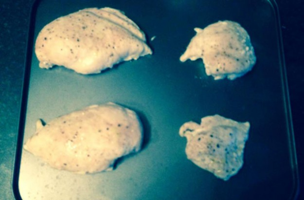 These chicken breasts started off the same size!